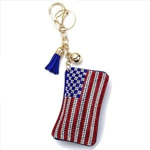 🇺🇸 American Flag Puffy Keychain that Sparkles